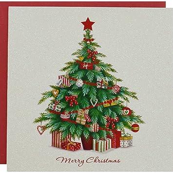 Glitter Christmas Cards.White Glitter Tree Premium Christmas Cards Pack Of 10