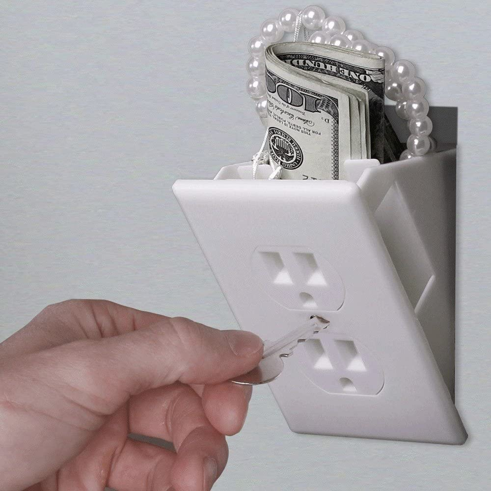Wall Plate Simple Install, Magnetically Attaches for Easy Use Wall Plate Hidden Safe Perfect for Secret Stash Box Hide in Plain Sight Key Money Jewelry Storage Cash Holder Safes
