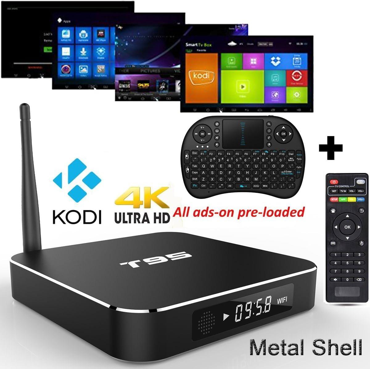 gotron® T95, Android 5.1 Smart TV Box, Amlogic S905 2.0 GHz Quad-Core CPU 1 GB/8GB XBMC Wifi Streaming Media Player (Compatible con todos los formatos de películas HD – accés en los
