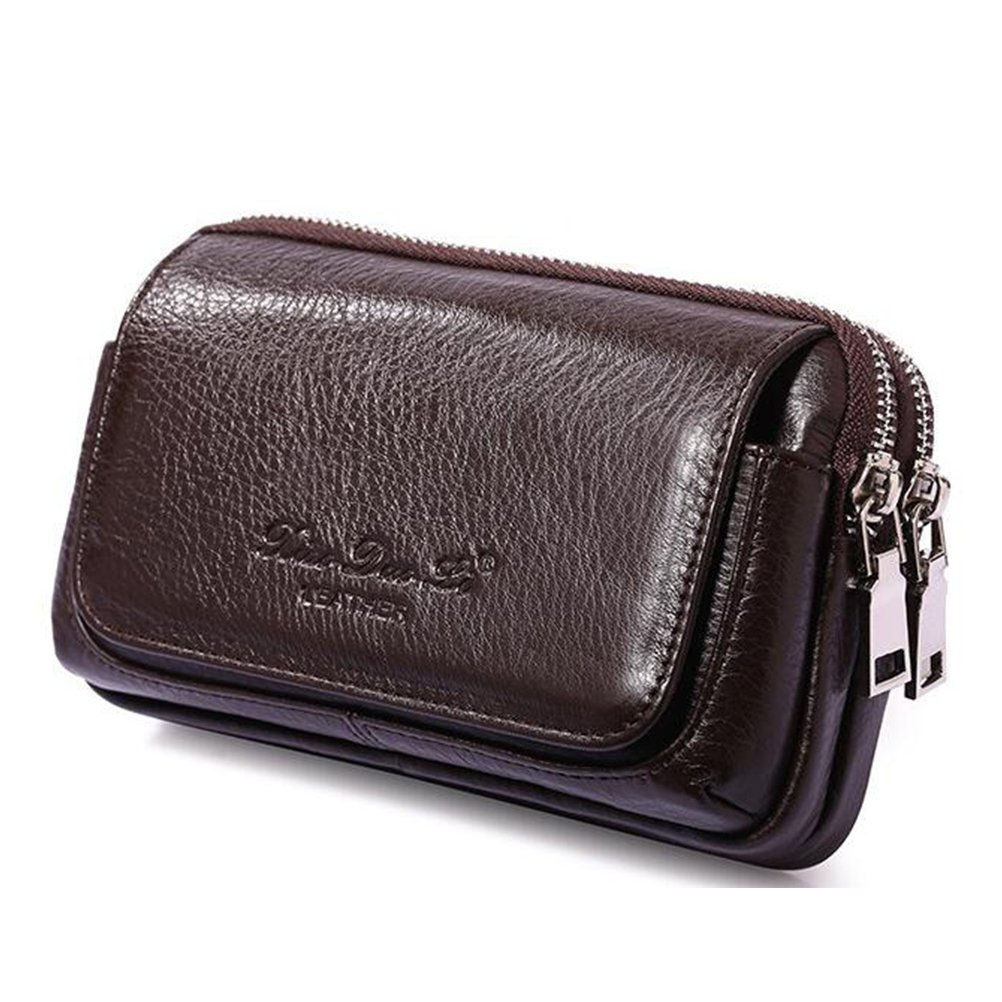 Genuine Leather Men's Waist Welt Bag Cell Phone Money Pouch for iPhone 8 7 6 Plus 4.7~6.0 inch Horizontal Coffee L Size