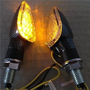 Faros intermitentes laterales de fibra de carbono y bombillas LED para motocicleta: Amazon.es: Coche y moto