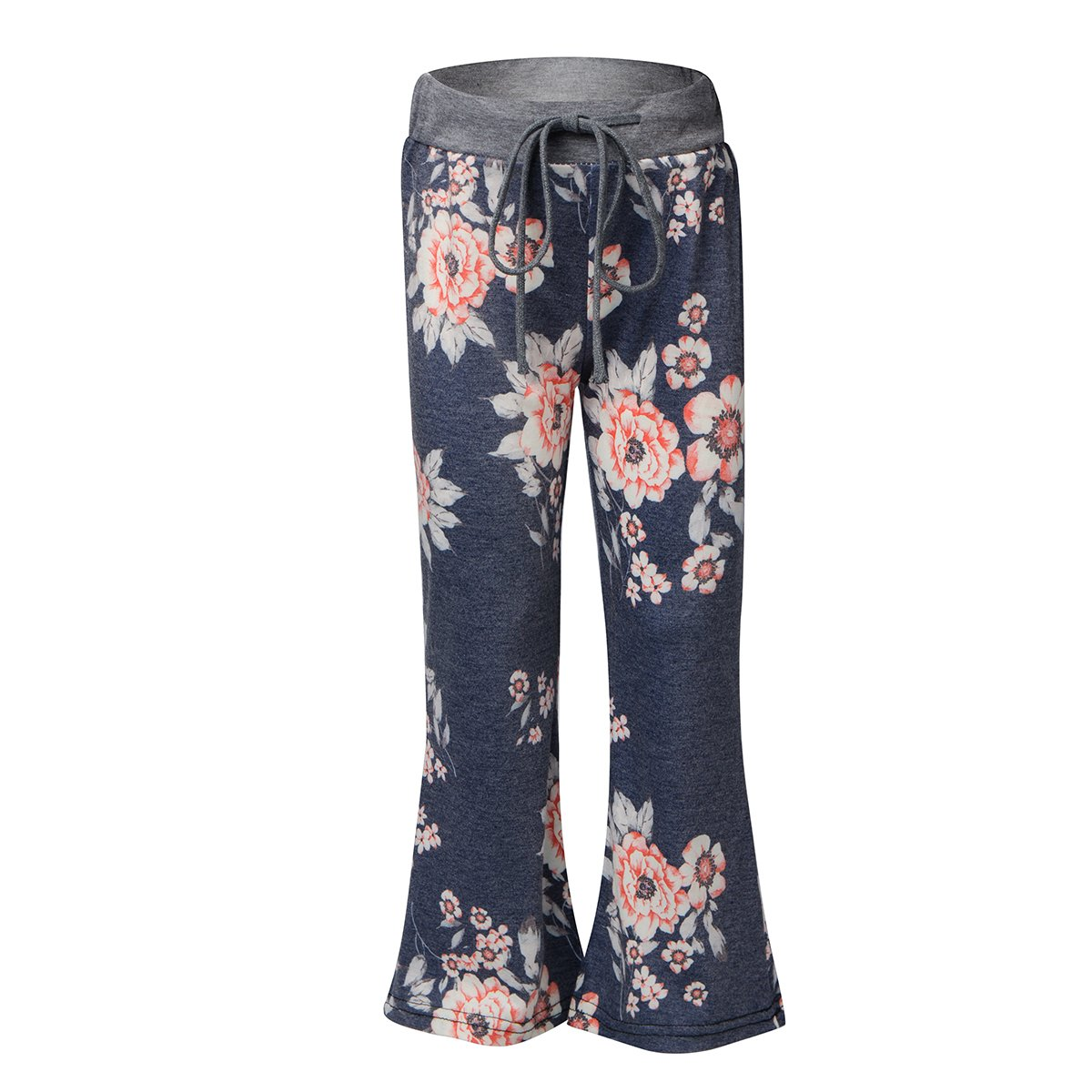 bluee Sunfung Girls Casual Floral Print Drawstring Palazzo Pajama Wide Leg Lounge Oversized Flower Flare Pants