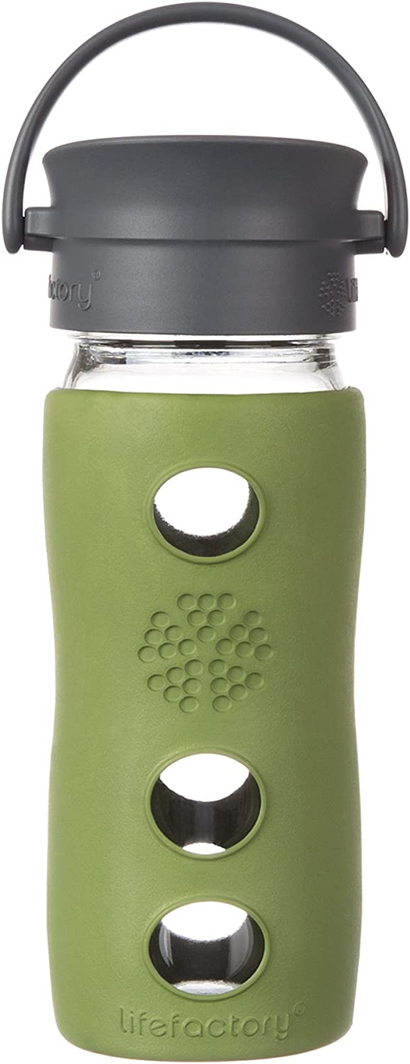 Lifefactory 12-Ounce Insulated Glass Hot Tea & Coffee Travel Mug with Cafe Cap