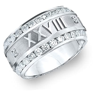 6cb93aa4a 14K White Gold 1.0 CT Men's Roman Numeral Diamond Eternity Ring Customized  With Your Date (F-G/VVS)