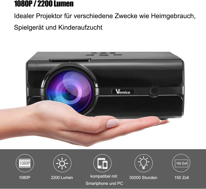 Proyector Full HD vemico 2200 Lumens 1080P LED Cine en casa Mini ...