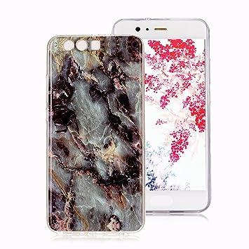 Funda Mármol para Huawei P10 Plus, Ronger Carcasa Gel TPU Silicona Marble Case Cover Funda Ultra Fino Flexible con Patrón de Piedra para Funda Huawei ...