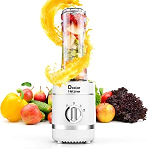 Doctor Hetzner Personal Blender for Shakes, Smoothies and Juice, Portable Blender with 20oz Travel Cup, Small Blender with 2 Speed, BPA Free, 300W, Automatic Cleaning