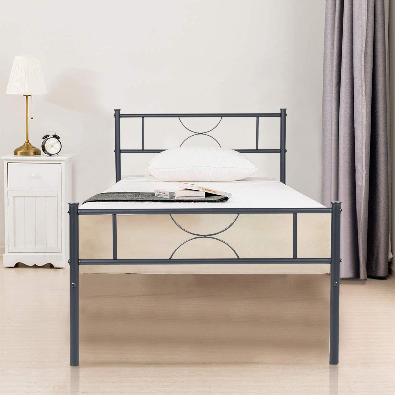 GreenForest Twin Bed Frame Single Metal Platform with Headboard Stable Metal Slats Mattress Foundation No Box Spring Needed, Black