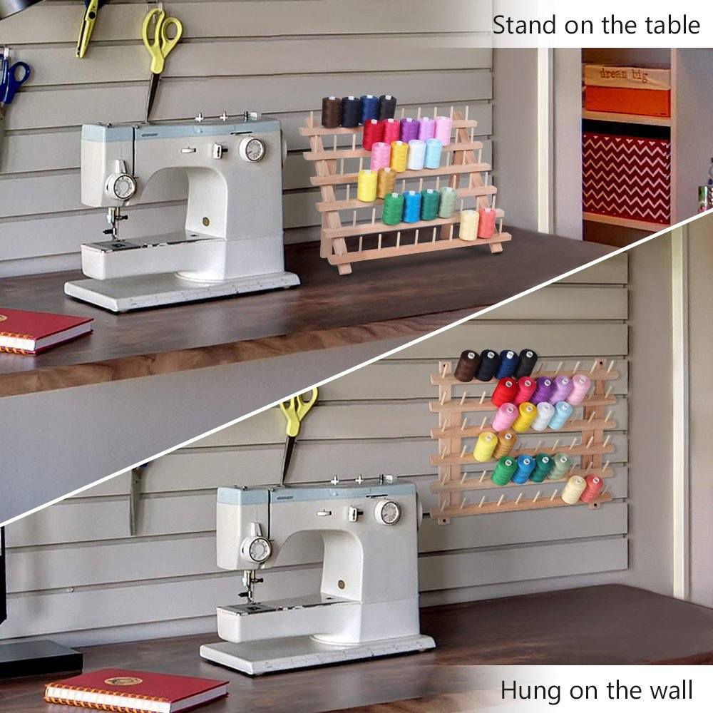 Wooden Thread Holder Sewing Organizer for Sewing Quilting Embroidery HAITRAL 50-Spool Thread Rack