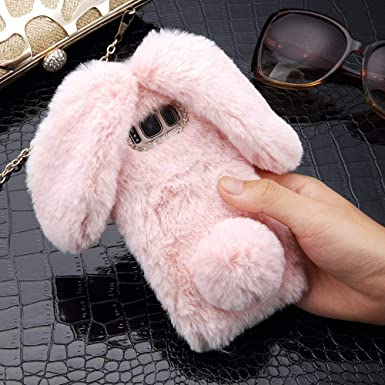 reputable site 0d563 37195 LAPOPNUT Plush Cover for Samsung Galaxy J3 2015 2016 Case Cute Bunny Ears  Case Luxury Super Soft Warm Fluffy Furry Rabbit Shockproof Back Case Cover  ...
