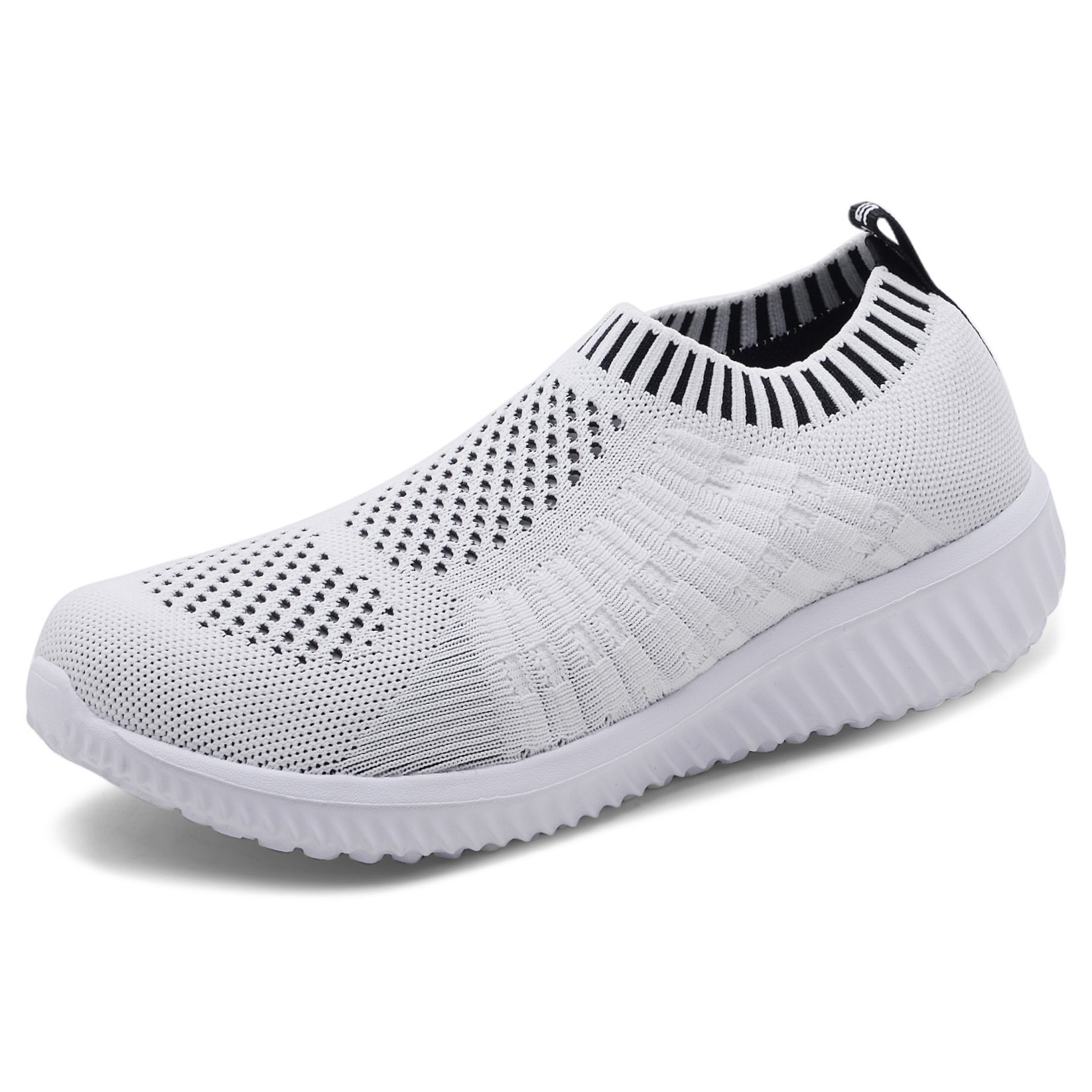 TIOSEBON Women's Athletic Shoes Casual Mesh Walking Sneakers - Breathable Running Shoes 8.5 US White New