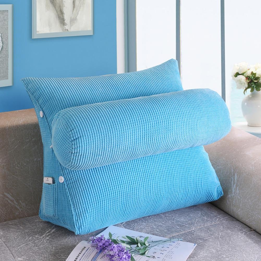 FLHSLY Triangle backrest Bedside cushions Lumbar support cushions Reading pillows sofa backrest Office backrest , blue , big
