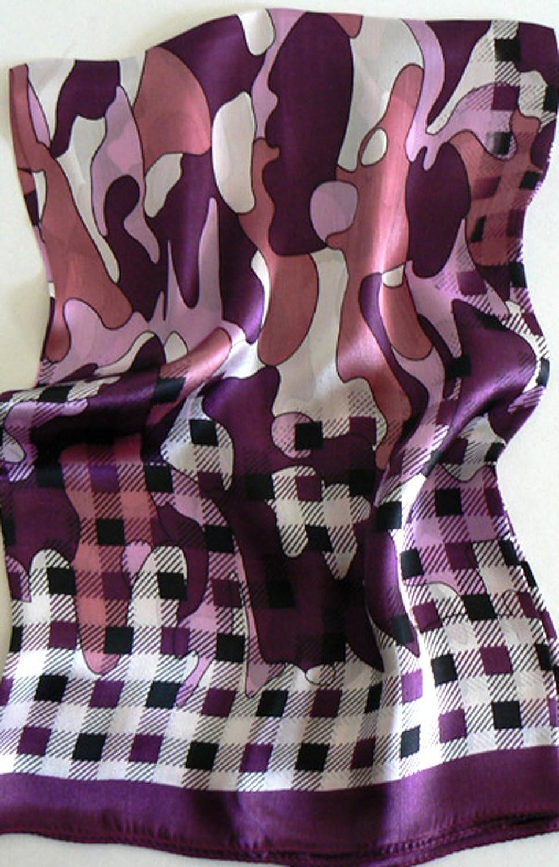 Silk Salon Large 100% Luxurious Charmeuse Silk Scarf Shawl Wrap check plaid
