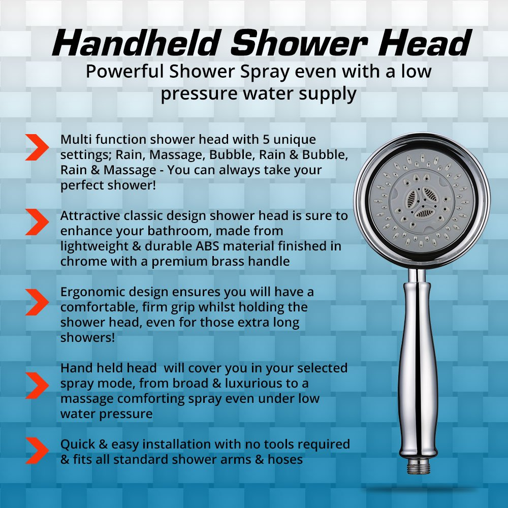 Handheld Shower Head With  Settings Powerful Shower Spray Even - Rain shower head water pressure