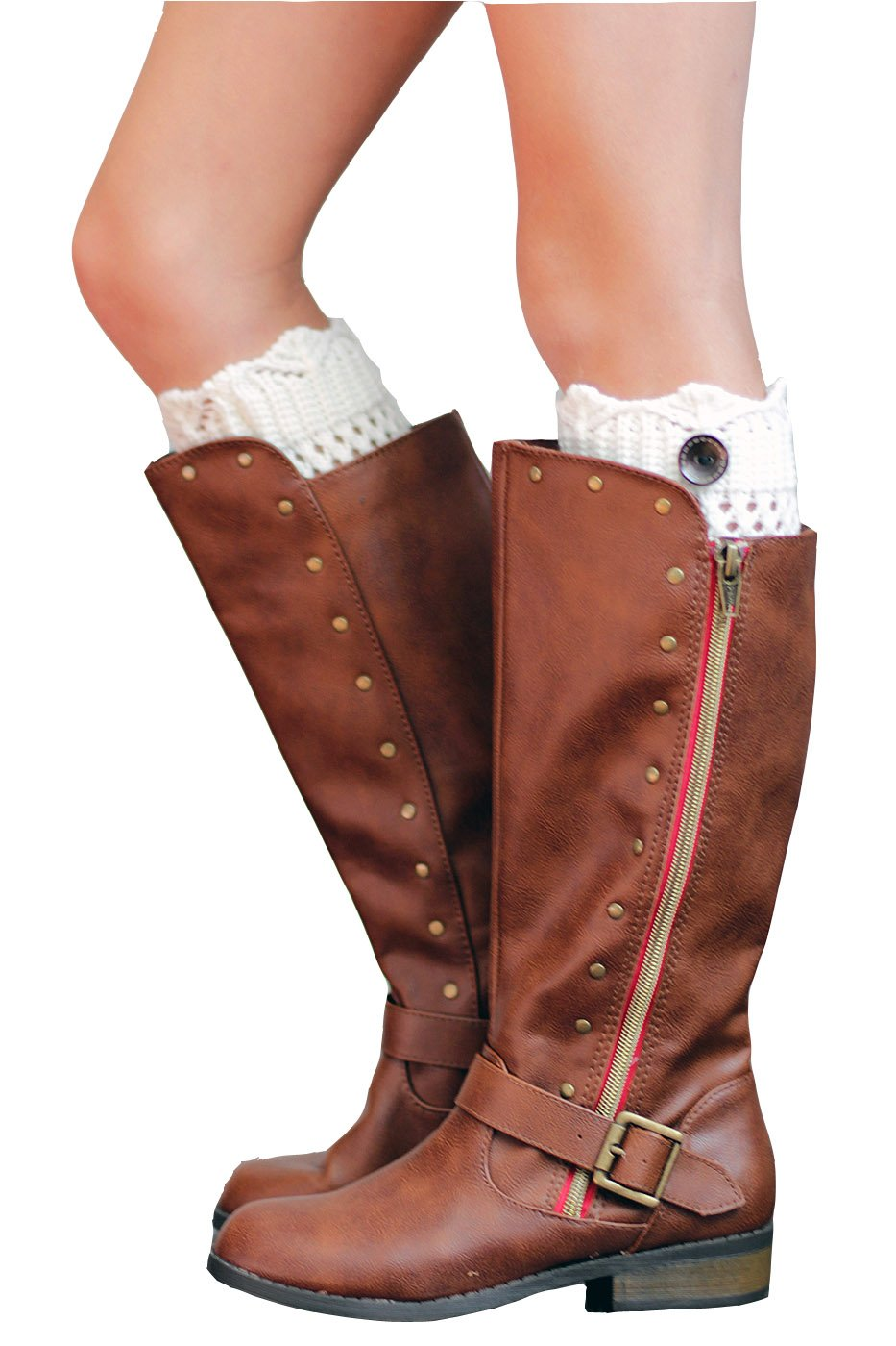 Girls Boot Cuffs 1 Button Knit Cuff for Kids by Modern Boho Ivory