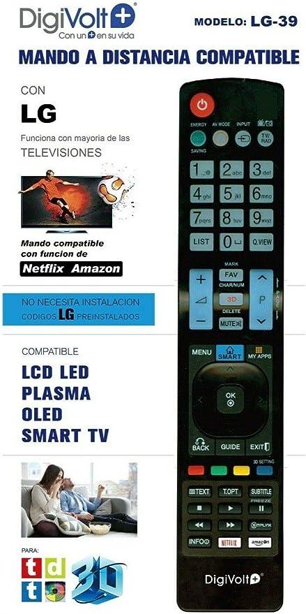 DiggitalWorld Mando Universal para Televisores LG, NO Necesita INSTALACIÓN códigos LG preinstalados Compatible con función Netflix Amazon: Amazon.es: Electrónica