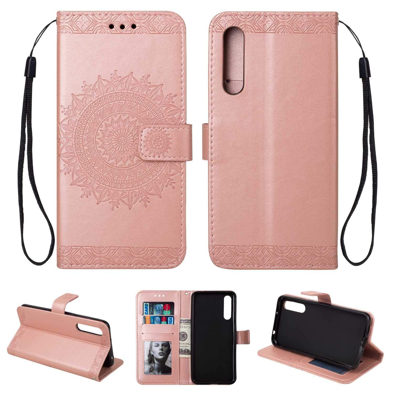 HCUI Compatible avec Huawei P20 Pro Coque Cuir Étui Wallet Housse, Portefeuille de Protection Coque avec Fonction Support Magnétique Pochette Antichoc Coque pour Huawei P20 Pro - Or.