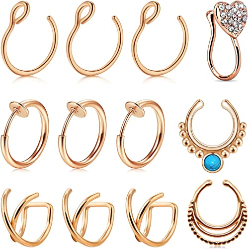 Amazon Com Avyring Fake Nose Ring Hoop Faux Nose Septum Ring Non