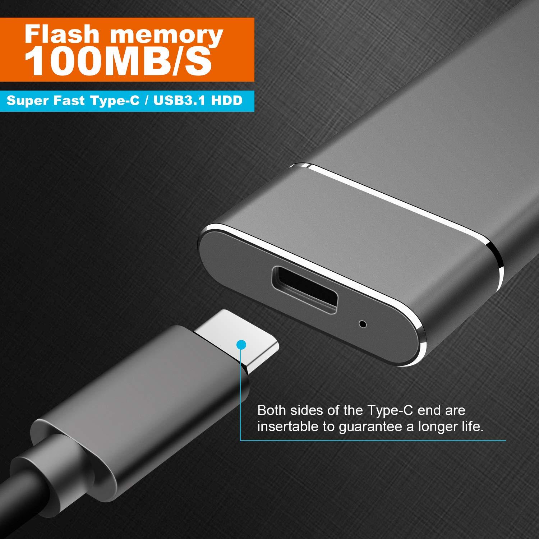PS4 1tb, Azul PC Desktop MacBook Xbox One Laptop,Chromebook Wsgfen Disco Duro Externo 1tb USB3.1 Type C Disco Duro Externo para Mac