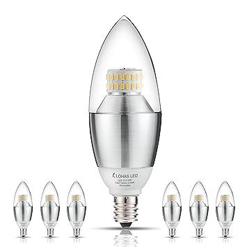 Dimmable Warm Led Light Bulbs: LED Candelabra Bulb, LOHAS 6-Watt Dimmable Warm White 2700K LED Chandelier  Bulb,,Lighting