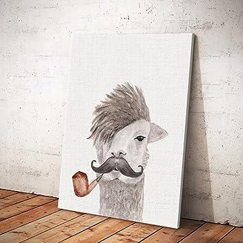 GroB Ufengke® Cartoon Tiere Alpaka Ölgemälde Malerei Drucke Auf Leinwand Gemälde  Für Wandkunst Kinderzimmer Hauptdekoration Gestreckt
