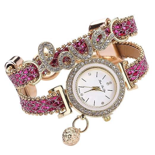 Yivise Moda Mujer Reloj de Pulsera de Lujo Hermosa Pulsera Diamante Cuarzo Elegante Amor Joyería Tejido
