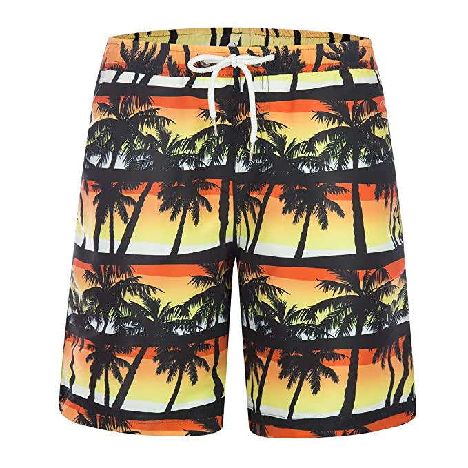 aad831669b ZHPUAT Men's Swim Trunks Beach Board Shorts Quick Dry Bathing Suits Holiday  Shorts-Coconut Tree