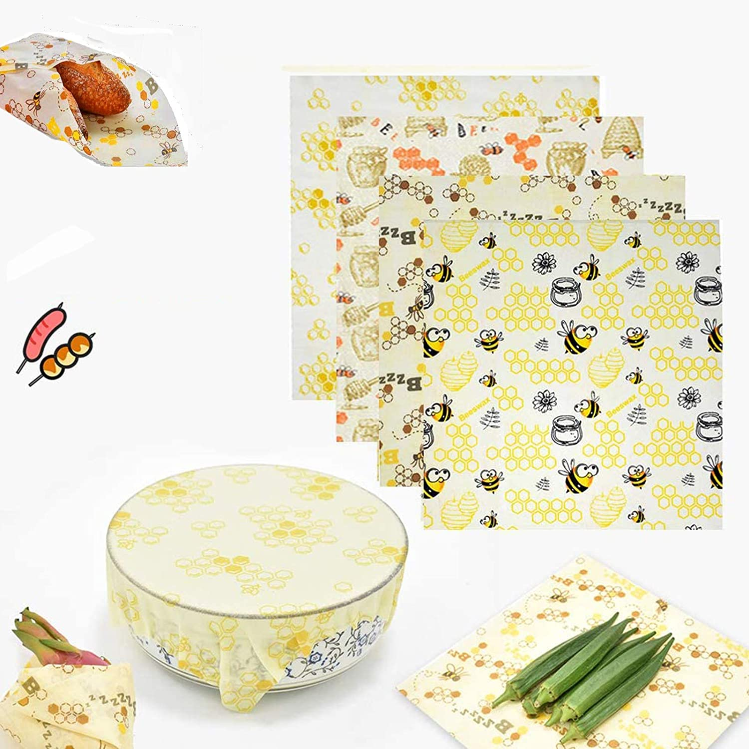 Htovila Beeswax Wraps 1 Roll Washable Reusable Eco-friendly Food Wrapper Cuttable Sandwich Bread Fruit Vegetables Lunch Storage for Kitchen Freezer Refrigerator-Cartoon Bee