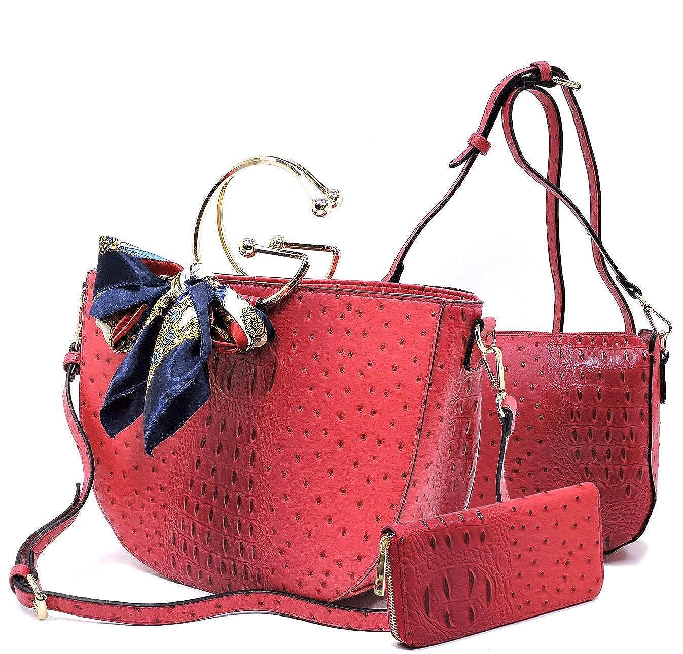 Cherry Handbag Republic Ostrich Embossed Set  Scarf Accent HalfMoon Tote, Crossbody, Wallet