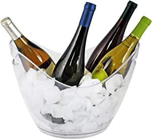 True Chill Ice Bucket Alcohol Holder Wine Bottle Chiller, Clear