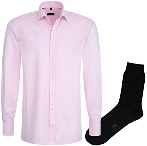 ETERNA Herrenhemd Modern Fit, rosa, Fein Oxford + 1 Paar hochwertige Socken, Bundle