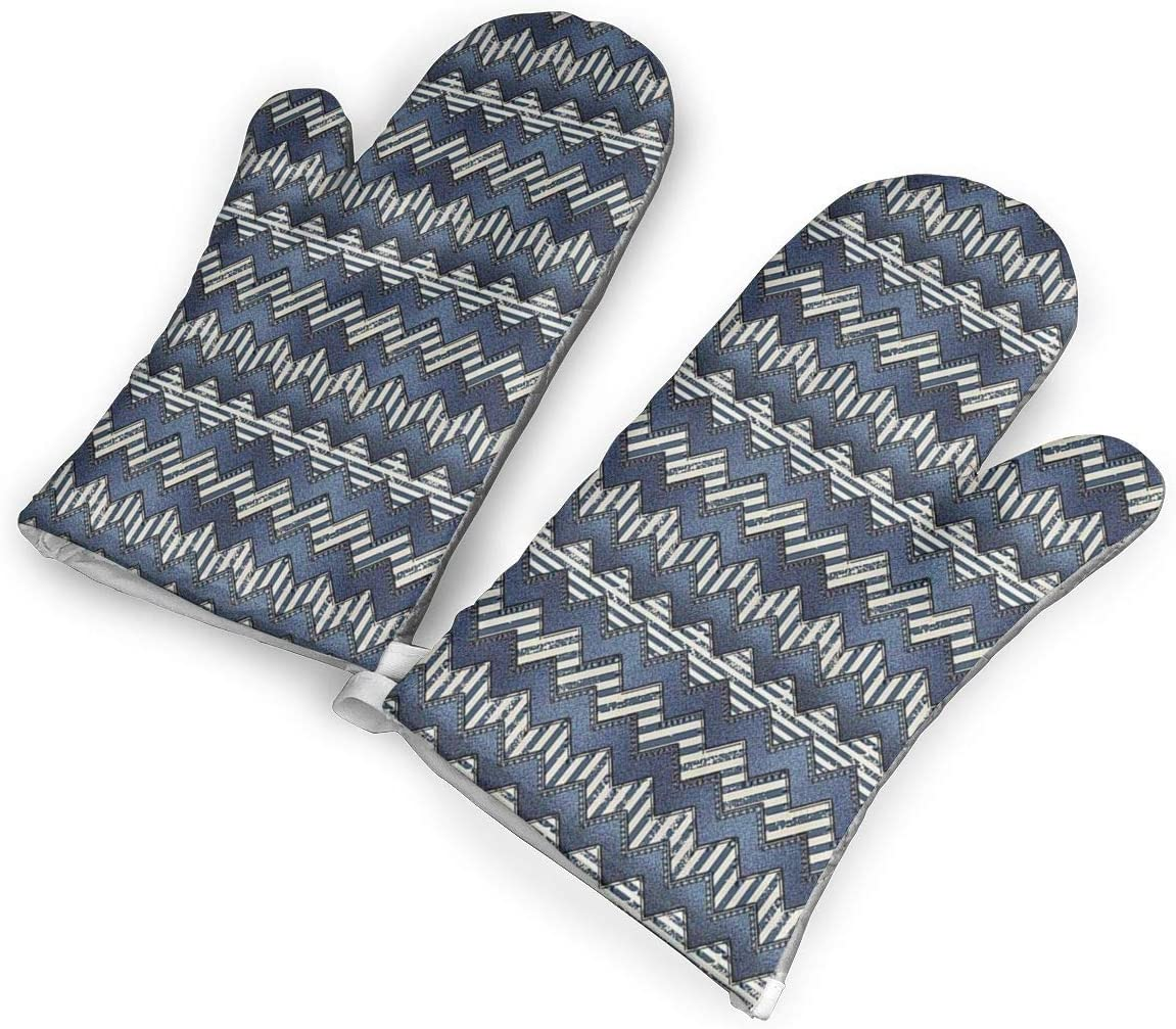 Feederm Patchwork of Denim Fabric Oven Mitts,Professional Heat Resistant Microwave Oven Insulation Thickening Gloves Baking Pot Mittens Soft Inner Lining Kitchen Cooking