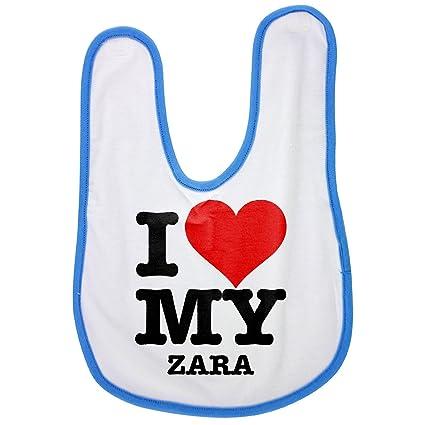 I Love My Zara, bebé babero en azul