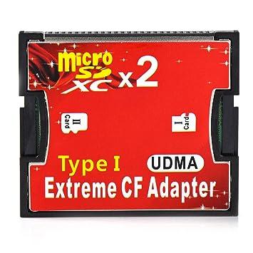 Desconocido RGBS doble puerto Micro SD/SDHC/SDXC TF a Compact Flash UDMA CF tipo 1 lector de tarjetas de memoria adaptador para Canon Nikon cámara
