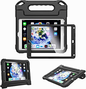 Kids Case for iPad 9.7-inch 2018 6th Generation / 2017 5th Generation & iPad 9.7-inch Air / Air 2 - Built-in Screen Protector Shockproof Light Weight Handle Convertible Stand Cover (Black)