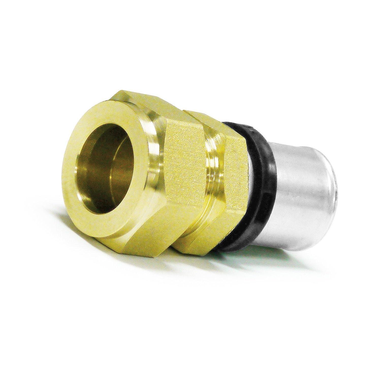 Pipetec Pressfitting Verschraubung Ü bergang 20x2 mm Verbundrohr auf 22mm Kupferrohr TH Kontur, DVGW, TH-Profil Stabilo-Sanitaer