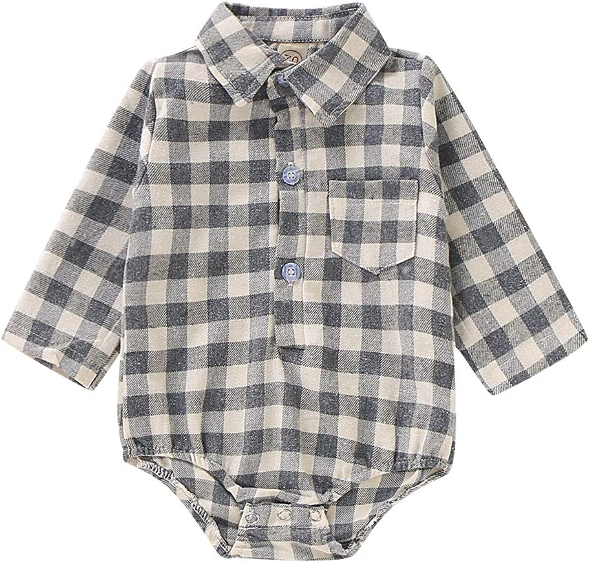Newborn Baby Romper Infant Boys Girls Red Plaid Long Sleeve Button Down Black and White Flannel Shirt Winter Fall Clothes