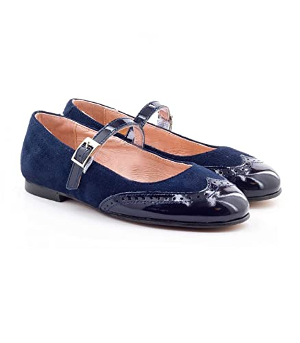ef3f4e050 Boni Aliénor - suede and patent leather ballet flats for girls - S7, Navy  Blue
