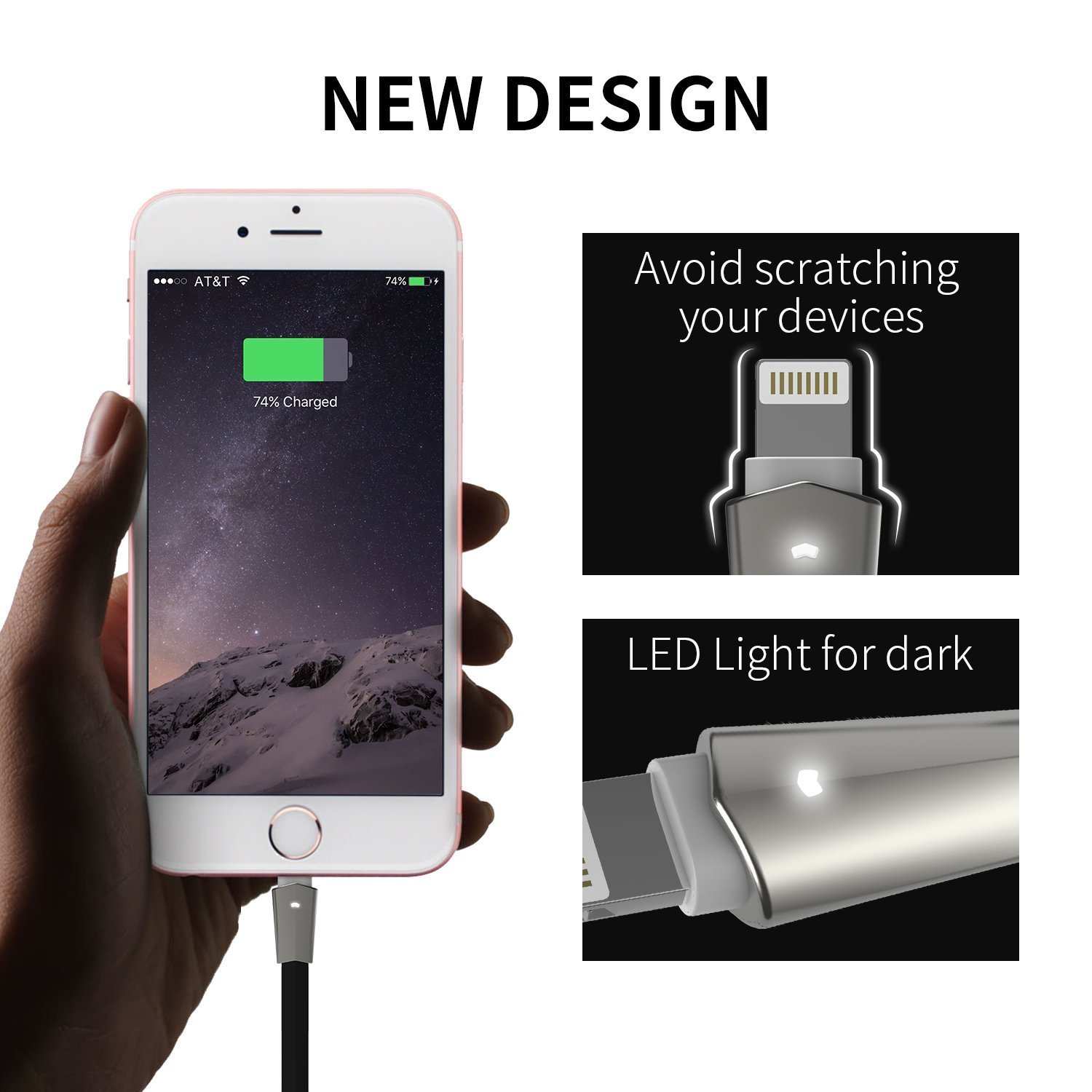 Amazon com aimus lightning cable w led light 6ft zinc alloyed connector high speed charging cord usb for iphone 7 7 plus 6 6 plus charger