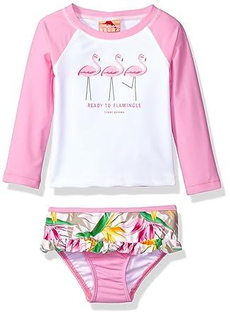e3b90ebe37 Tommy Bahama Big Girls  Flamingo Long Sleeve Rash Guard Two Piece Swimsuit  Set