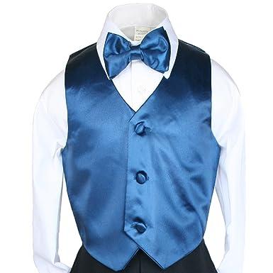 Amazon.com: 2pc Bow Tie Vest Set Boy Wedding Oasis Teal Pacific Blue ...