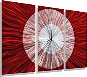 "Statements2000 Large Modern Metal Wall Clock Panels by Jon Allen, Red/Silver, 38"" x 24"" - Red Shift"