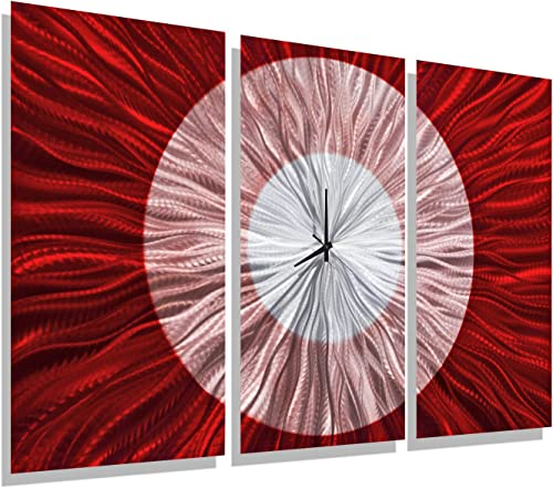 Statements2000 Large Modern Metal Wall Clock Panels by Jon Allen, Red Silver, 38 x 24 – Red Shift