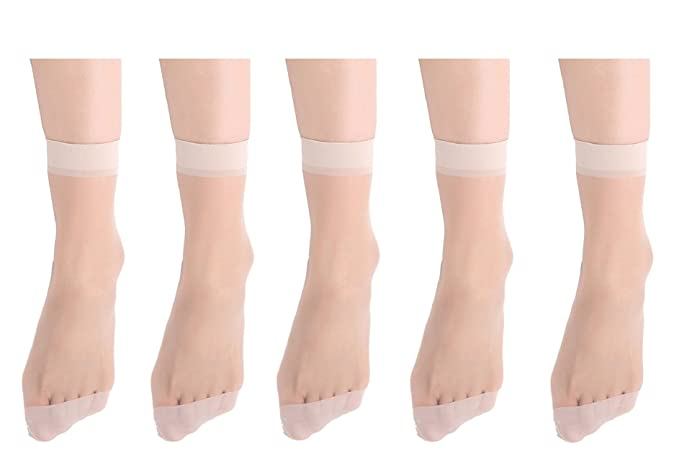 Tuopuda 5 pares Mujer Calcetines Medias Calcetines Crystal Transparente Delgada Mujer Calcetines de Seda Fina en