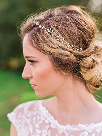 Elegant Pearl Gold Headband Wedding Prom Bridal Bridesmaid Hair band