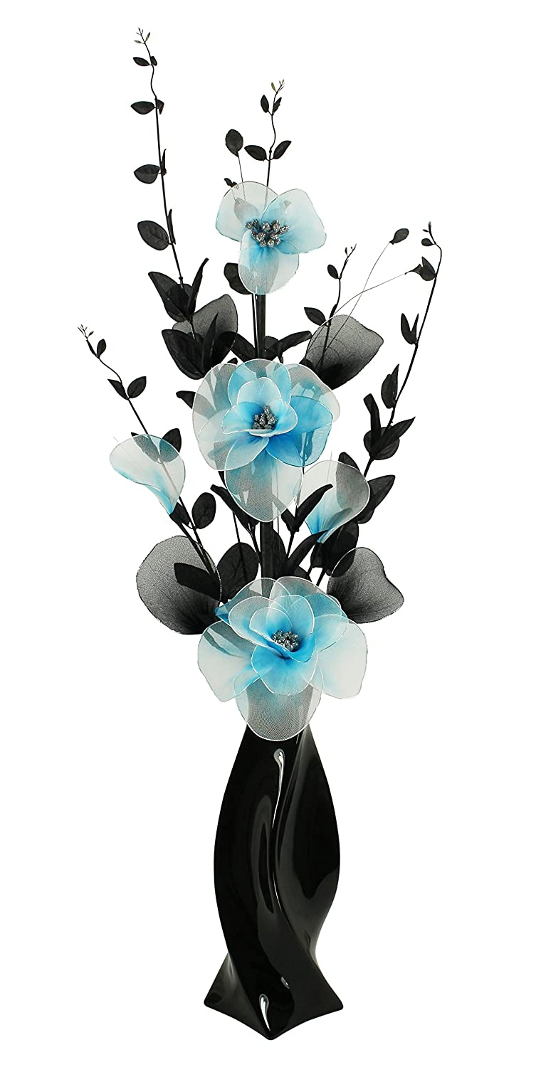 Black Vase with Teal Blue Artificial Flowers, Ornaments for Living Room, Window Sill, Home Accessories, 80cm Flourish 721633