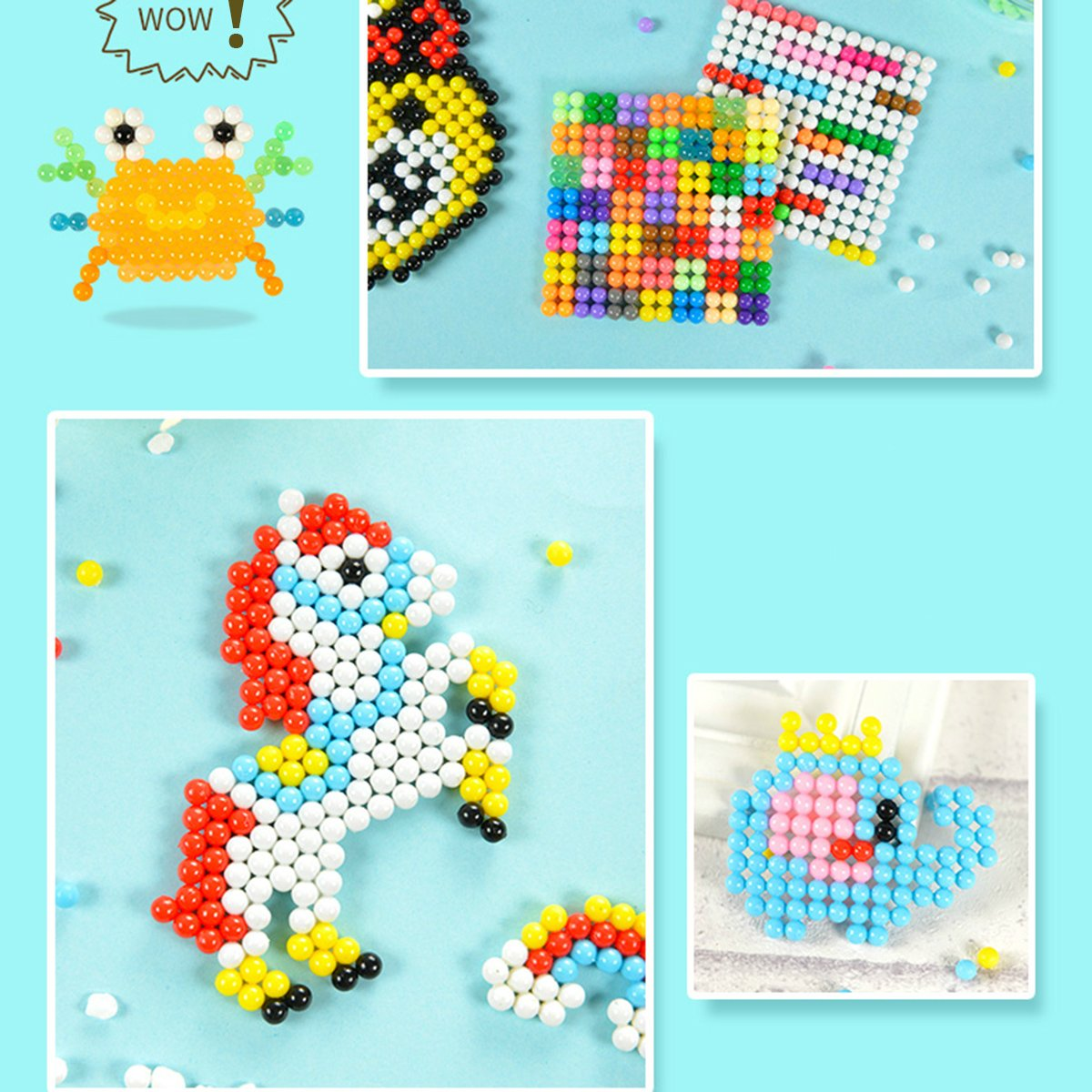 Aqua water beads Beginners Studio perler fusion Craft beads Art Crafts toys for kids non toxic with bead palette, layout table, bead pen, bead peeler, sprayer, template sheets -15 colors(2400pcs) by QIAONIUNIU (Image #1)