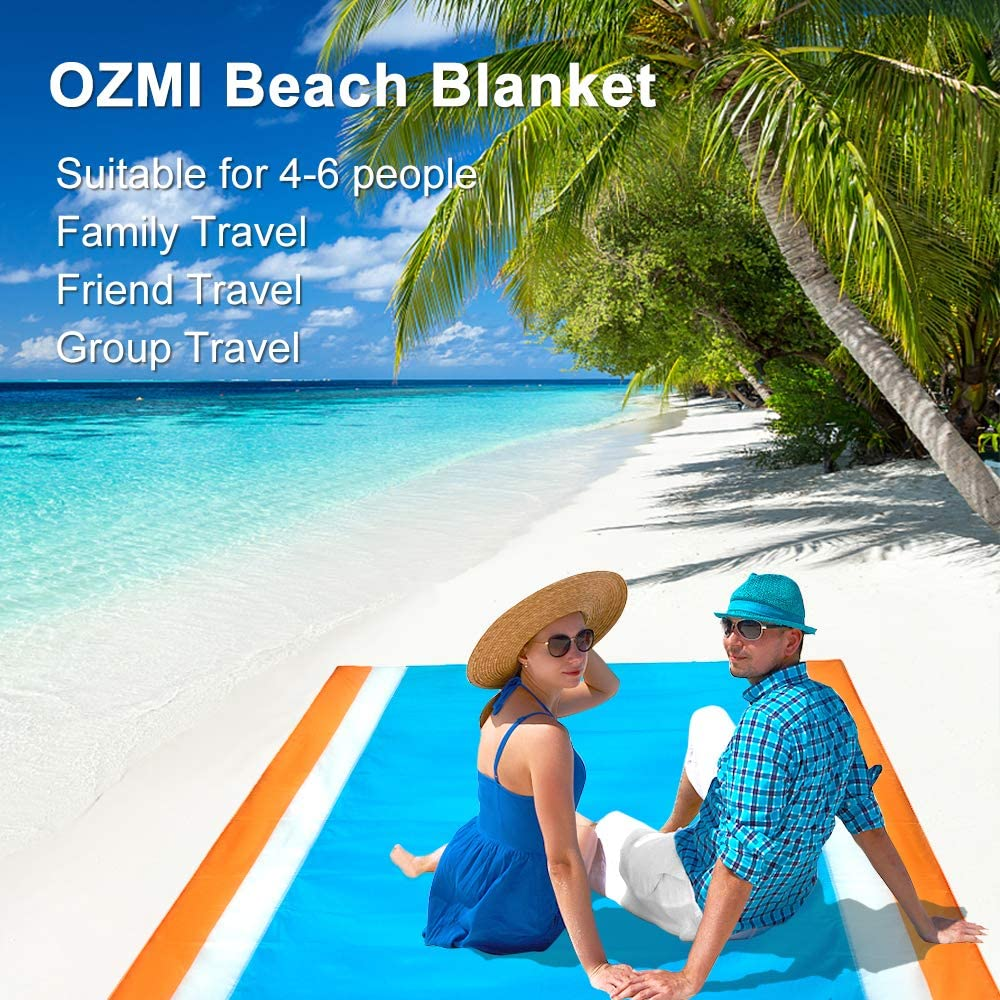 Camping Sandproof and Waterproof Quick Drying Beach Mat OZMI Sandfree Beach Blanket Large Oversized 78 X 81 for 7 Adults Durable Portable Nylon Pocket Picnic for Outdoor Travel Hiking