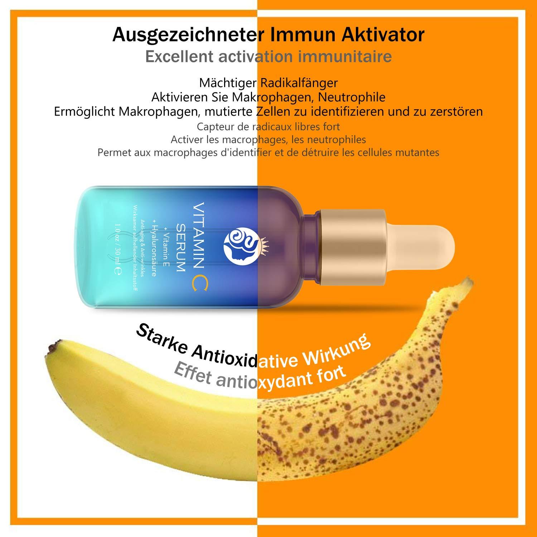 15% Alto dosiert Vitamin C Serum con ácido hialurónico, anti-edad ...