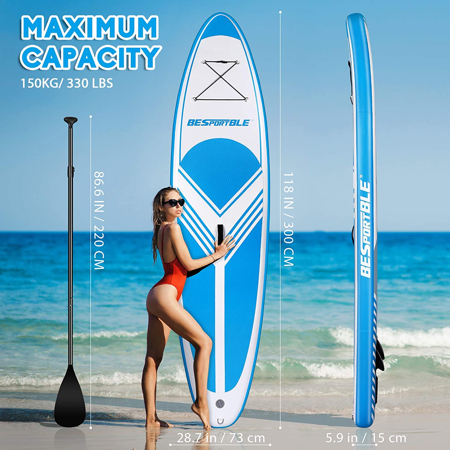 BESPORTBLE Inflatable Stand Up Paddle Board 10' Paddleboard Standing Boat for Adults SUP Accessories & Backpack Non-Slip Deck Leash Paddle and Hand Pump, Ultra- Light 24. 4lbs,Arrives in 3-5 Days